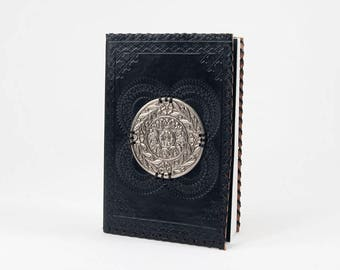 Embossed Black Leather Journal with Metal Disc (1220-44-P20)