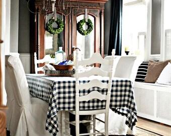 Buffalo check tablecloth - Blue navy buffalo tablecloth - Blue navy tablecloth -available size - kitchen tablecloth - choose your size