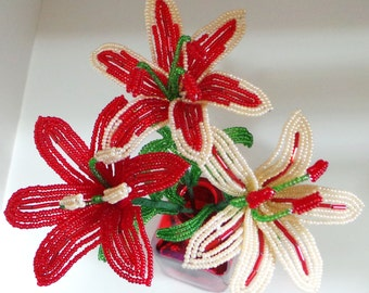 Three French Beaded Deluxe Lilies In Red & Champagne