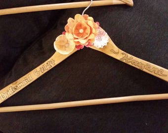 Customizable wedding hangers, paper flower hanger, custom floral hanger, bride/ bridesmaid hangers, wedding accessories, wedding photo prop