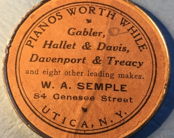 """Vintage/Antique Celluloid Mirror W.A. Semple -Utica, NY,""""Pianos Worth While"""", 2 1/8in Round,Great Condition<>BCEB-189"""
