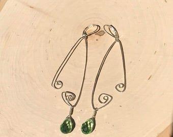 Sterling Silver Earrings  Crystal Earrings  Green Earrings  Green Crystal Earrings