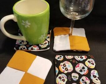 Mug rugs, coasters, wine glass coasters. Skulls