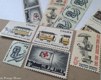 Industrial Chic | Vintage Unused Postage Stamps | For 5 Letters | 51 Cents