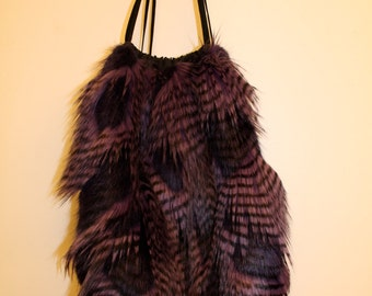 Feathered Faux Fur Backpack