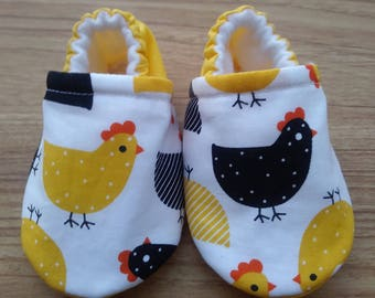 Baby chicks shoes,Chicks fabric shoes,Chicks cotton fabric,Soft  baby shoes,Baby shower gift,gift,Baby Boy shoes,Baby girl shoes,Handmade