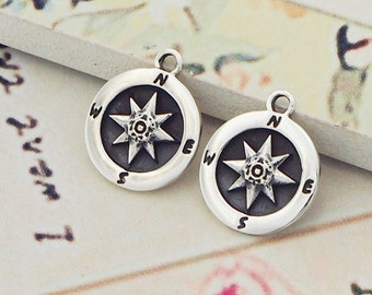 2 of 925 Sterling Silver Compass Printed Charms 11mm. :th2256
