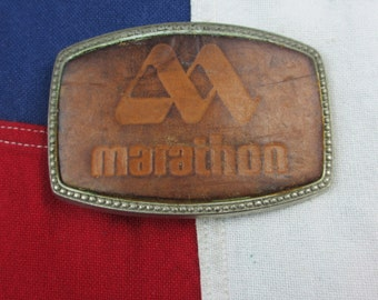 Vintage 1970's Marathon Oil Corporation Belt Buckle Leather Nickel Silver Corporate Logo Drilling Mining Industrial Gas Station Trucker