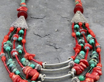 """Cascade"" ethnic boho necklace"