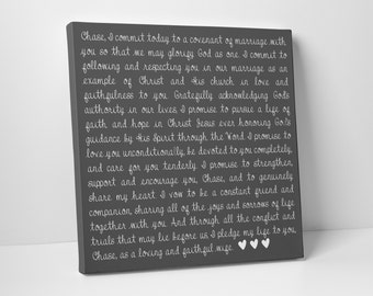 Valentine's Day Gift, Second Cotton Anniversary Gift, Wedding Vows on Canvas, For Him, For Her -