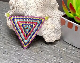 Triangle Necklace, Rainbow, Metallic, Beaded Necklace, Seed Bead Necklace, Boho Necklace