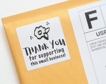 Thank You Stickers - Small Business Thank You - Business Stickers - Product Packaging Stickers - Thank You Label - Floral Thank You