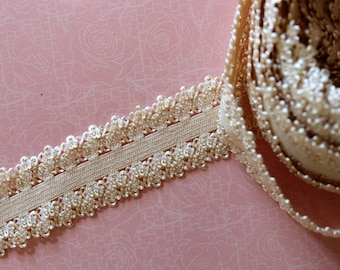 elastic Ribbon with beige lace