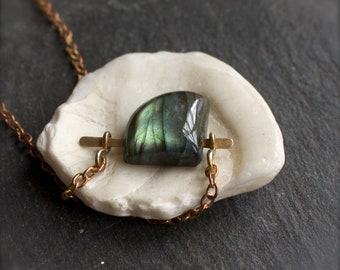 Blue Green Labradorite Pendant Necklace - Hammered Brass Bar, Dark Grey, Teal Gold Flash, Oxidized Patina, Metalwork Jewellery