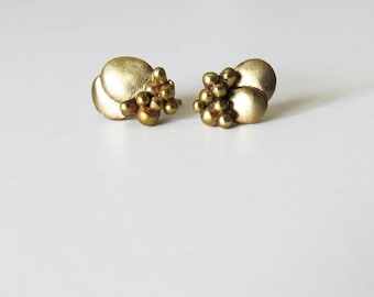 Bee's stud earrings, gold plated brass, abstract minimal pendant, one of a kind