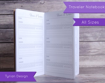 TV Shows, Series and Movies Tracker for Midori Traveler's Notebook, All Sizes