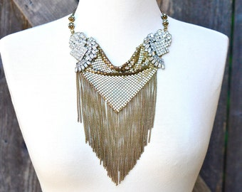 Boho Wedding Statement Necklace Vintage Boho Gold Necklace Gold Fringe Metal Mesh Bridal Bib Necklace Vintage Rhinestone