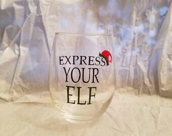 15 oz Stemless Christmas glass