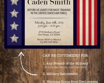Military Going Away Party Invitation / Deployment Party / Basic Training Party Invitation / Welcome Home Party Invitation / Patriotic