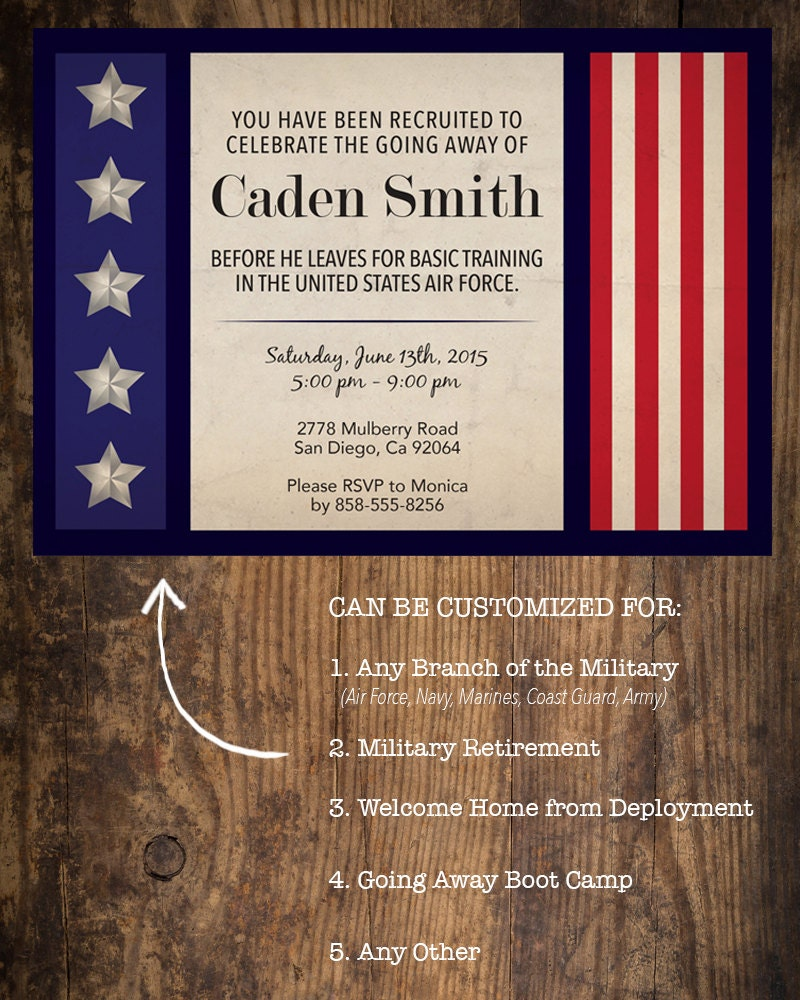 Military Going Away Party Invitation / Deployment Party /