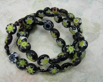 Millefiori Glass Dark Purple, White and Yellow 7-8mm Puffed Flat Round Beads-S