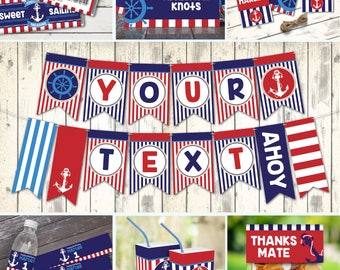 Nautical Birthday Party Set, 1st Birthday, Sailor Party, Nautical Party Decor | Editable Text - DIY Instant Download PDF Printable