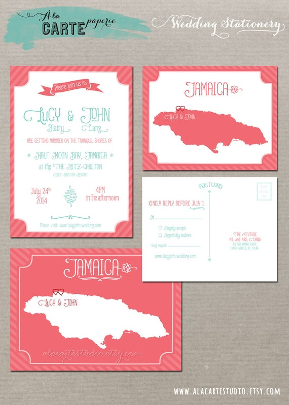 Coral Reef Beach Destination Wedding Invitation RSVP Cards