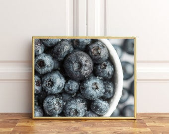 Blueberries, Fruit Photography, Kitchen Decor, 8x10, Instant Download, Wall Art Photography, Restaurant Decor