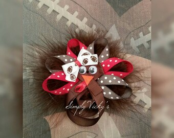 Thanksgiving Alabama Turkey Hair Bow