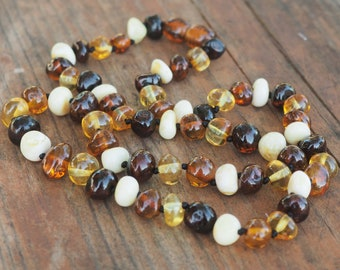 Baltic Amber women necklace mixed amber baroque shape beads 17.5 inch