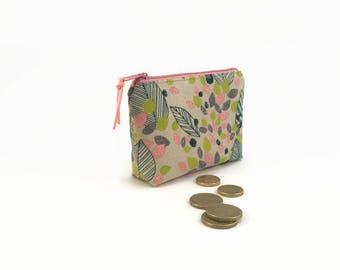 Change purse, Coin purse, Coin pouch, Floral, Zipper pouch, Zipper purse  Zipper clutch wallet, Gift for her, Floral purse Coin purse wallet