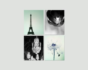 SALE, Paris Canvas Set, Black, Mint Green, Bedroom Wall Art Canvas, Eiffel Tower, Chandelier Canvas