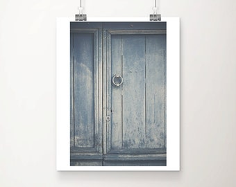 blue door photography, rustic door print, France photography, fixer upper decor, blue decor, French decor, Europe travel photography
