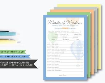 Hot Air Balloon 'Up & Away Blue' Theme *Printable Wishes to Baby Cards* Baby Shower Game // Travel Theme // Note to Baby // INSTANT DOWNLOAD