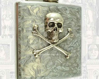 Steampunk Antique Silver Skull and Crossbones Flask Neo Inlaid in Hand Painted Silver Swirl Custom Colors and Personalized Option
