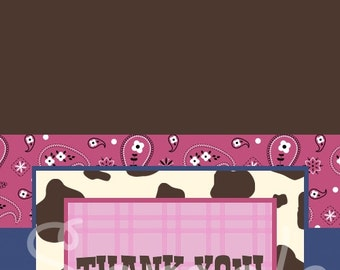 Custom Lil Cowgirl Baby Shower Thank You Card, You Print