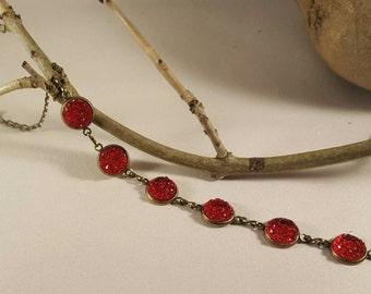 antique brass bangle with wine red druzy stone,bracelet,gift bracelet, glitter stones, antique bracelet, ladoes stone jewellery,jewelry