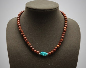 Earthy Wood and Turquoise Necklace