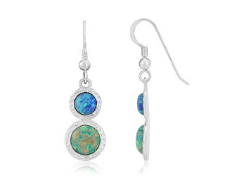 Green and Blue Opal Hammered Drop Earrings