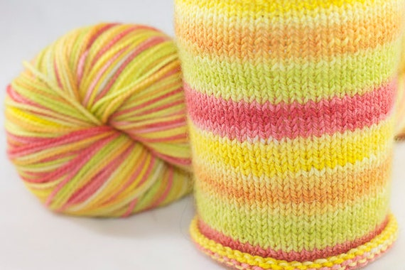 Self Striping Sock Yarn, Citrus Pop Colorway