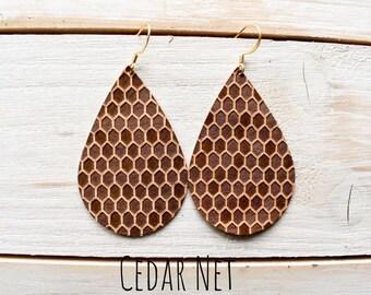 Genuine Leather Drop Earrings ~CEDAR NET~