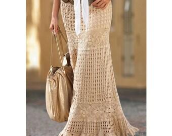 Maxi crochet skirt PATTERN, crochet TUTORIAL in English (written + charted) designer crochet skirt pattern PDF, modern crochet skirt pattern