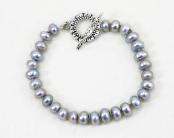 Gray Pearl Bracelet, Real Pearl Bracelet, Knotted Pearl Bracelet, Freshwater Pearls, Casual Pearl Bracelet, Button Pearls, Silver Pearls