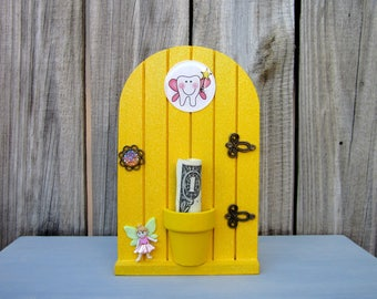 Tooth Holder, Tooth Fairy, Yellow, Money Holder, Fairy Door, Kids Gift, Lost Tooth, Painted Wood, Childs Tooth