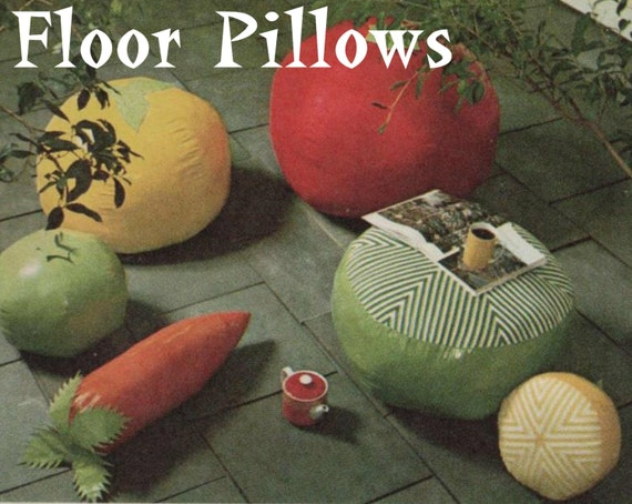 Fruit and Vegetable Floor Pillow Pattern Hassock Pattern Floor Pouf ...