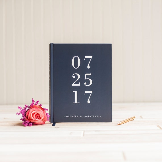 Wedding guest book personalized wedding date guestbook book scrapbook photo book instant photo wedding navy sign in hardcover memory book