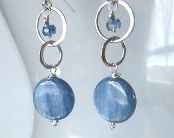 Kyanite Circles Sterling Silver Earrings