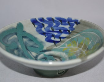 Pottery bowl / blue green pottery / blue bowl / pottery / small bowl / leaf pattern / blue / green / blue pottery / small pottery bowl /