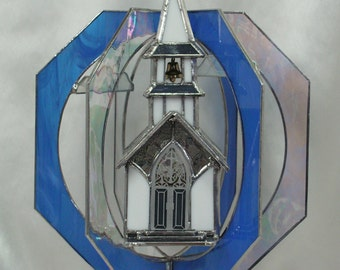 Illuminated, Christmas Village Church with Stained Glass Windows, Belltower with Light, Handmade in Stained Glass Whirl, Suncatcher