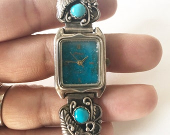 turquoise and coral sterling silver watch tips ends  with sold as is watch signed pieces STC
